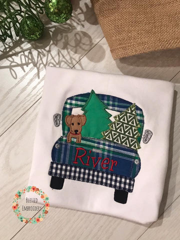 Boys Christmas Applique Shirt, Christmas Truck Appliue Shirt