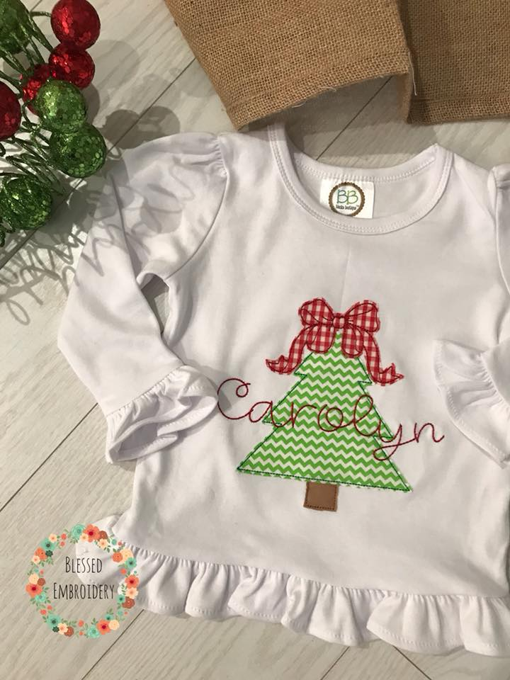 Girls Christmas Applique Shirt, Christmas Tree Applique Shirt