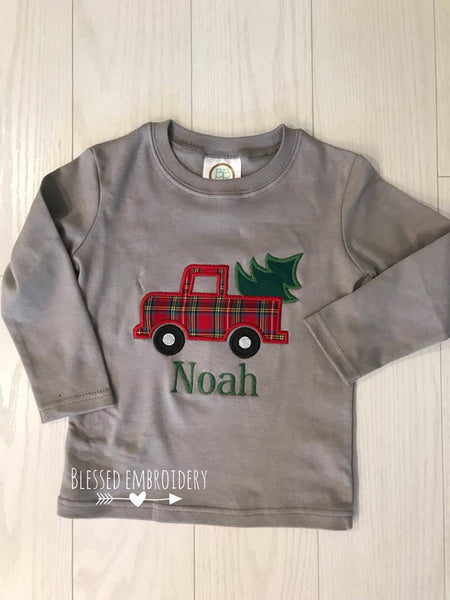 Boys Christmas Applique Shirt, Christmas Truck Applique Shirt, Boys Personalized Christmas Applique shirt