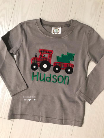 Boys Christmas Applique Shirt, Christmas Tractor Applique Shirt, Boys Personalized Christmas Applique shirt