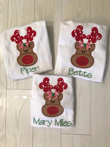 Girls Christmas Applique Shirt, Girls Reindeer Christmas Shirt