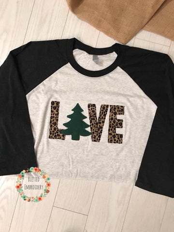 Christmas Applique Raglan, Christmas Love Raggy Raglan, Christmas Love Raglan