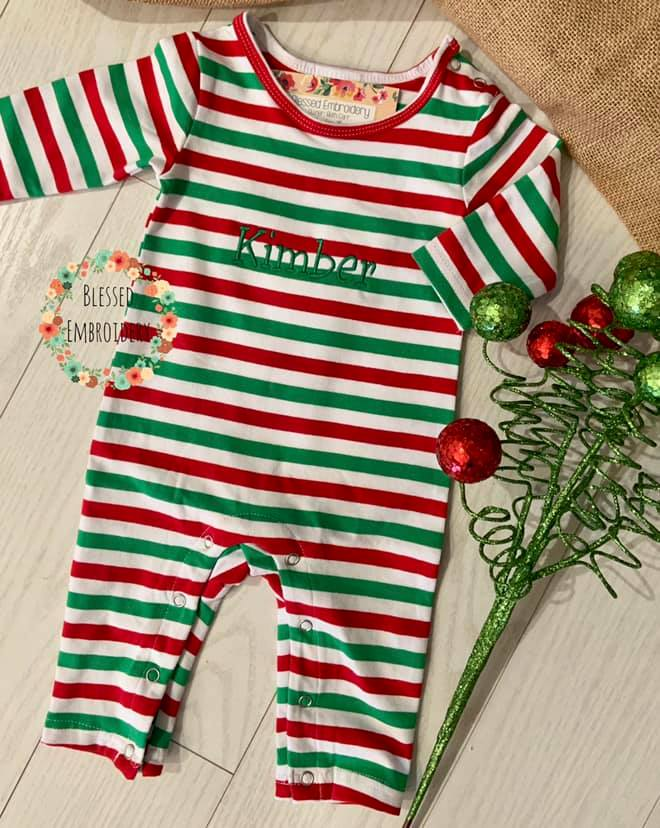 Christmas Outfit, red and green Christmas romper, monogrammed Christmas outfit