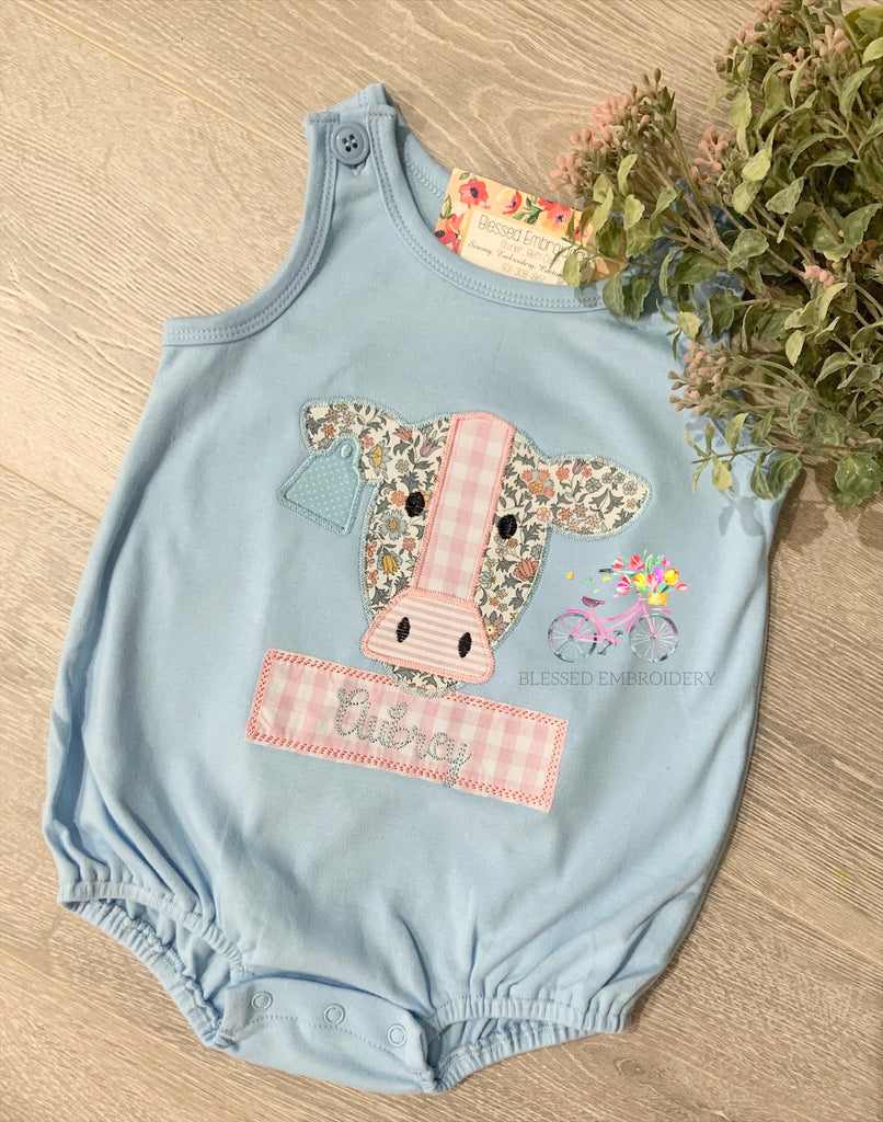 Girls Cow Bubble, Monogrammed Cow Outfit