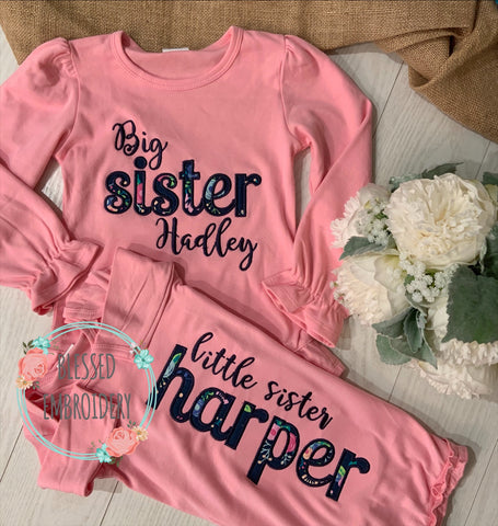 Copy of Big Sister Little Sister Applique Outfit Set, Little Sister Gown, Big Sister And Little Sister Outfit Set
