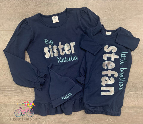 Monogrammed Sibling Outfits, Sibling Coming Home Outfits