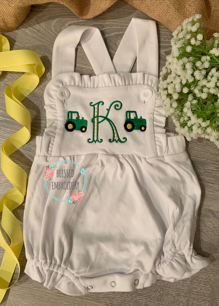 Girls Tractor Sunsuit, Girls Monogrammed Tractor Outfit