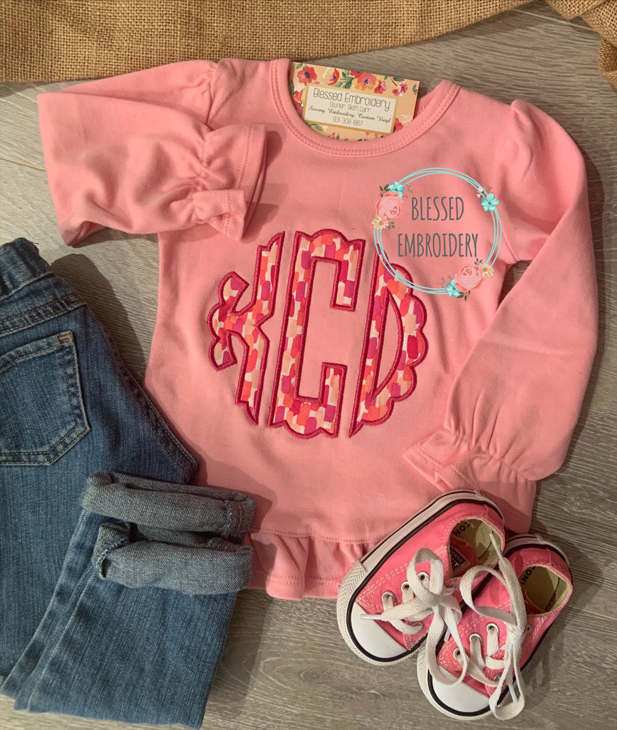 Girls Monogrammed Valentines Day Shirt, Girls Monogrammed Shirt