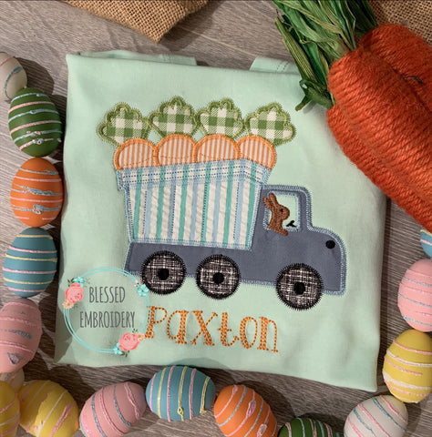 Boys Easter Shirt, Boys Personalized Easter Shirt, Boys Dump Truck Applique Shirt, Boys Dump Truck Easter Shirt