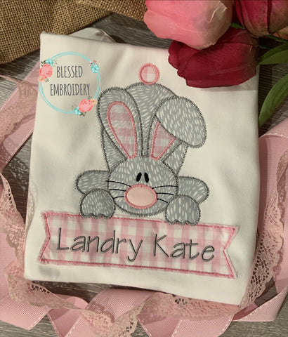 Girls Easter Bunny Applique Shirt, Girls Easter Applique Shirt, Girls Monogrammed Easter Shirt