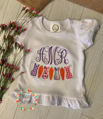 Girls Monogrammed Easter Shirt