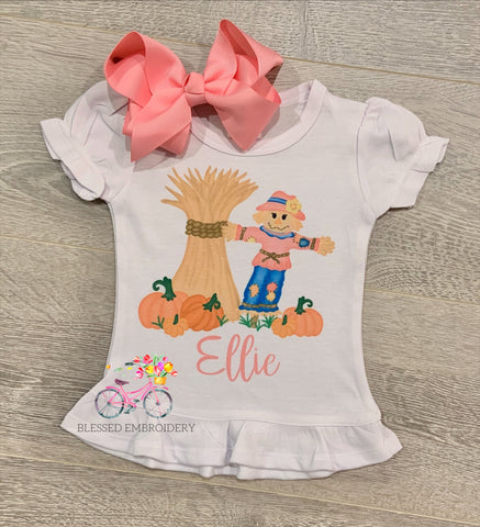 Girls Monogrammed Fall Shirt, Scarecrow Fall Shirt
