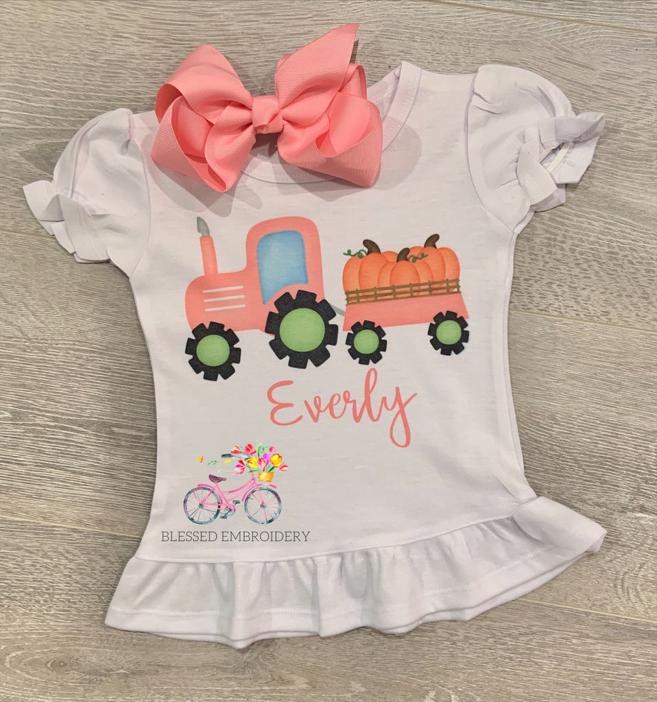 Girls Monogrammed Fall Tractor Shirt