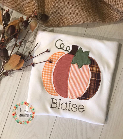 Boys Fall shirt, Boys Pumpkin Applique Shirt