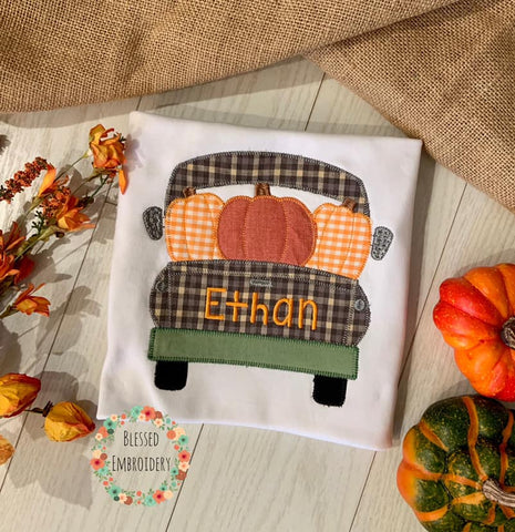 Boys Fall shirt, Boys truck Applique Shirt, pumpkin truck applique shirt