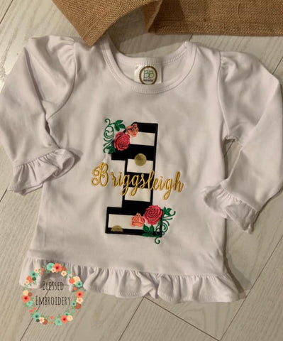 Floral First Birthday Shirt, First Birthday Shirt, Floral Applique First Birthday Shirt,