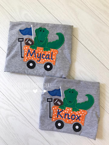 Boys Football Applique shirt, boys football monogrammed shirt, boys florida football applique shirt