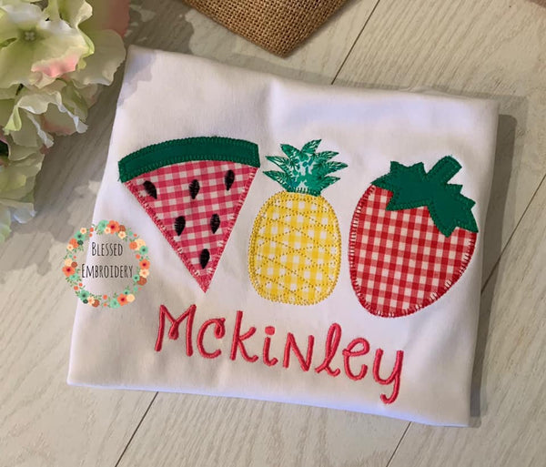 Fruit Trio Shirt, Fruit Applique Girls Shirt, Fruit Applique Shirt