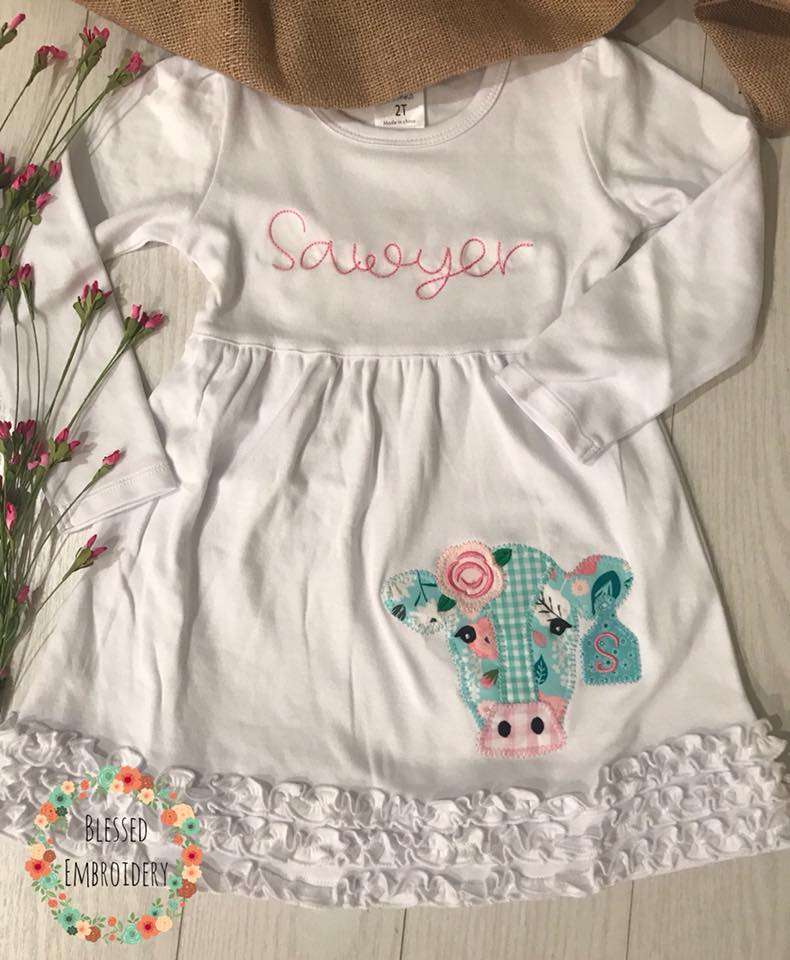 Girls Monogrammed Cow Applique Dress, Girls Monogrammed cow applique outfit