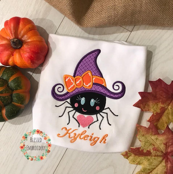 Girls Spider Applique Shirt, Girls Monogrammed Halloween Shirt