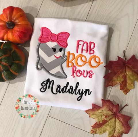 Girls Halloween shirt, Fab Boo Lous Applique Shirt
