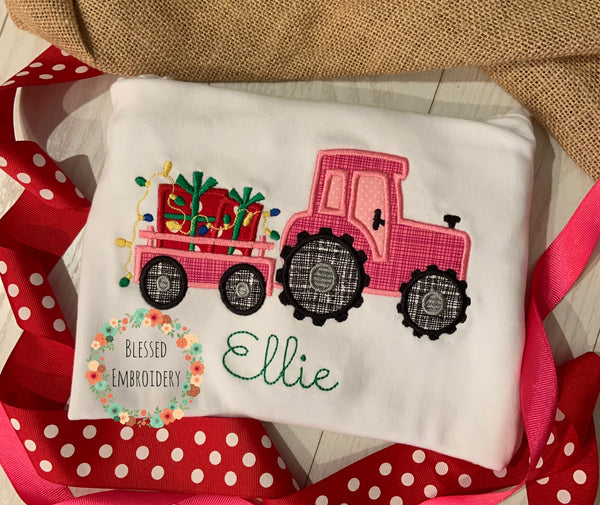 Girls tractor appliqué Christmas shirt, Girls Christmas Applique Shirt, Girls Christmas Shirt