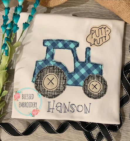 Tractor Applique Shirt, Monogrammed Tractor Shirt