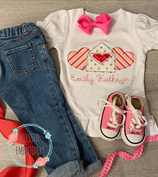 Girls Valentine Shirt, Girls Valentine Appliqué Shirt, Girls Monogrammed Valentine Appliqué Shirt