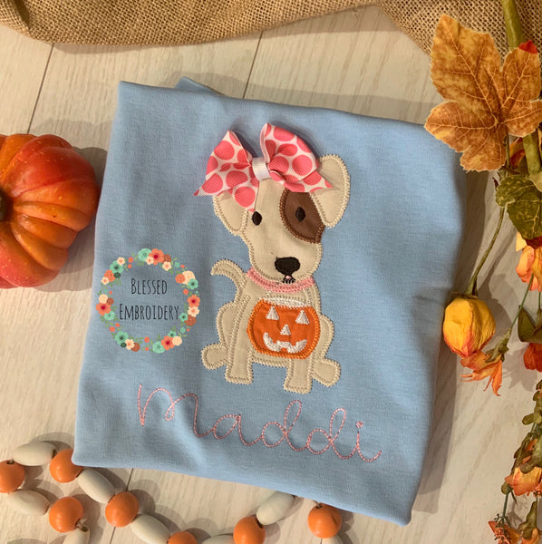 Girls Halloween Shirt, girls monogrammed Halloween shirt, girls Halloween puppy shirt