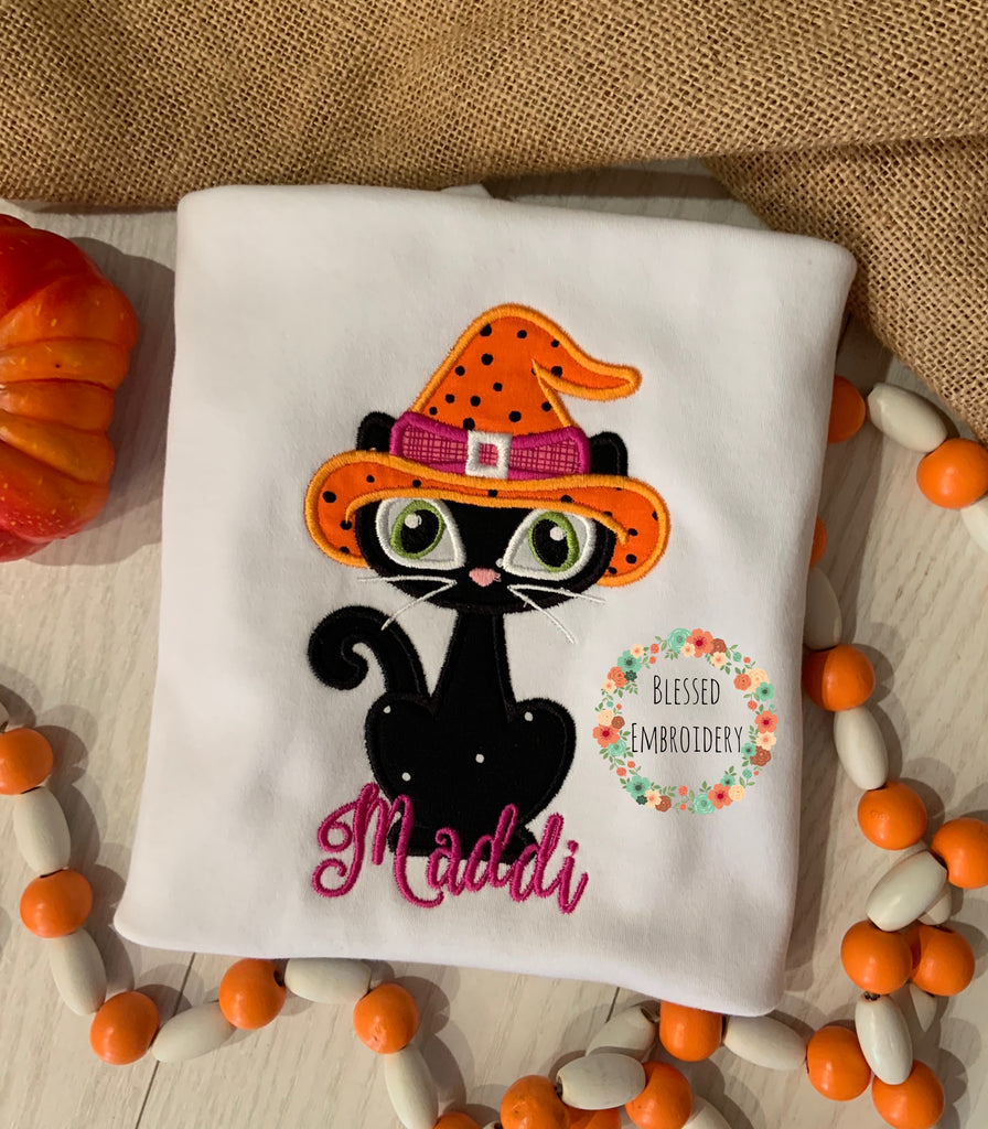 Girls Halloween shirt, girls monogrammed Halloween shirt, girls black cat appliqué shirt, girls black cat Halloween shirt