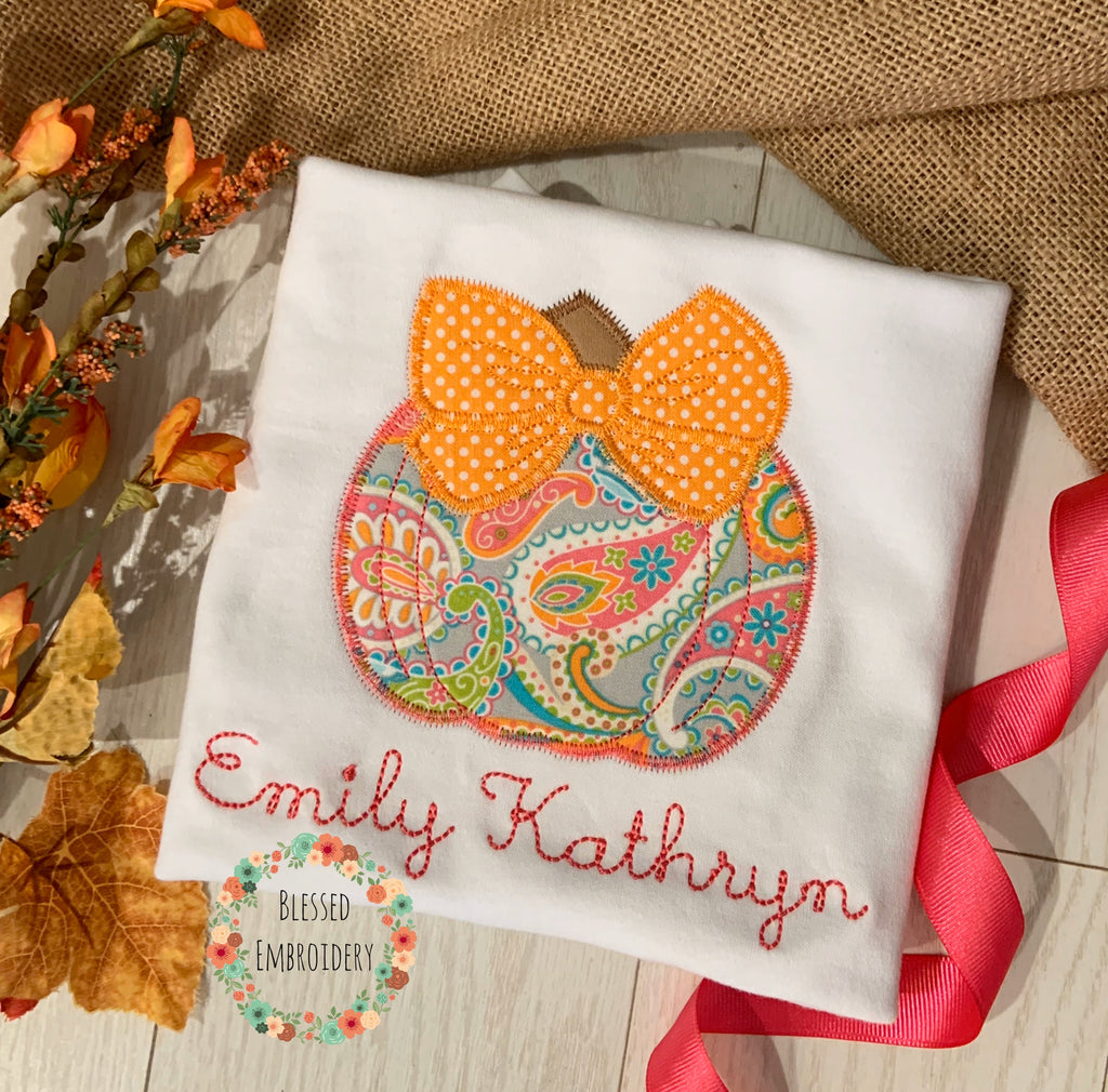 Girls Fall Shirt, Girls monogrammed pumpkin shirt, girls pumpkin appliqué personalized shirt