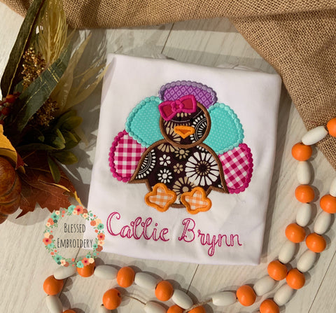 Girls Fall shirt, girls monogrammed turkey fall shirt, girls turkey appliqué shirt