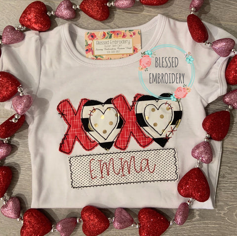 Girl Valentine Shirt, Girls Monogrammed Valentines Day Shirt, XOXO Valentine Appliqué Shirt