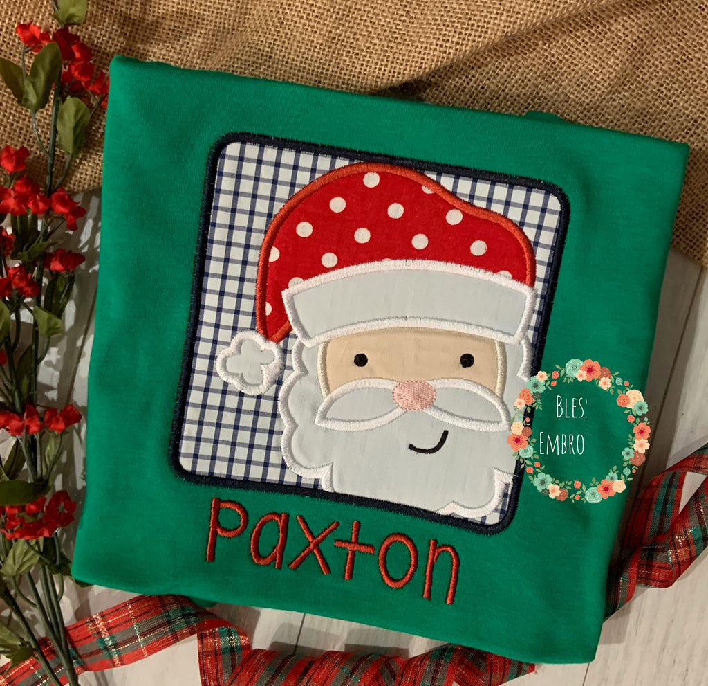 Santa clause shirt, Santa clause appliqué design