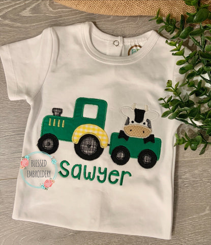 Tractor with cow Shirt, Tractor With Cow Monogrammed Shirt