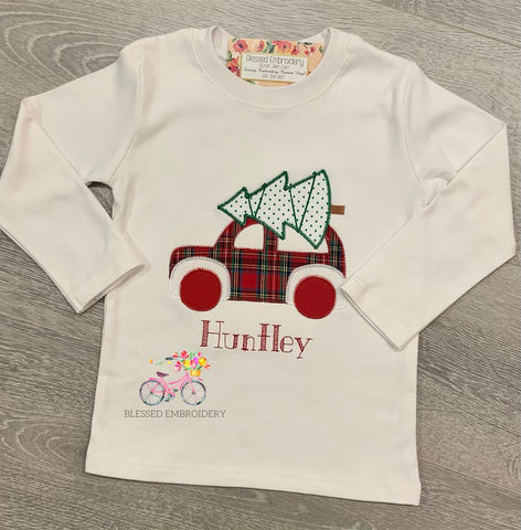 Boys Christmas Applique Shirt, Car With Tree Applique Shirt