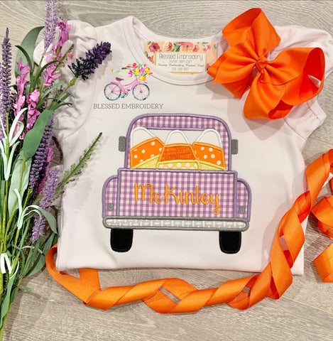 Girls Monogrammed Candy Corn Shirt