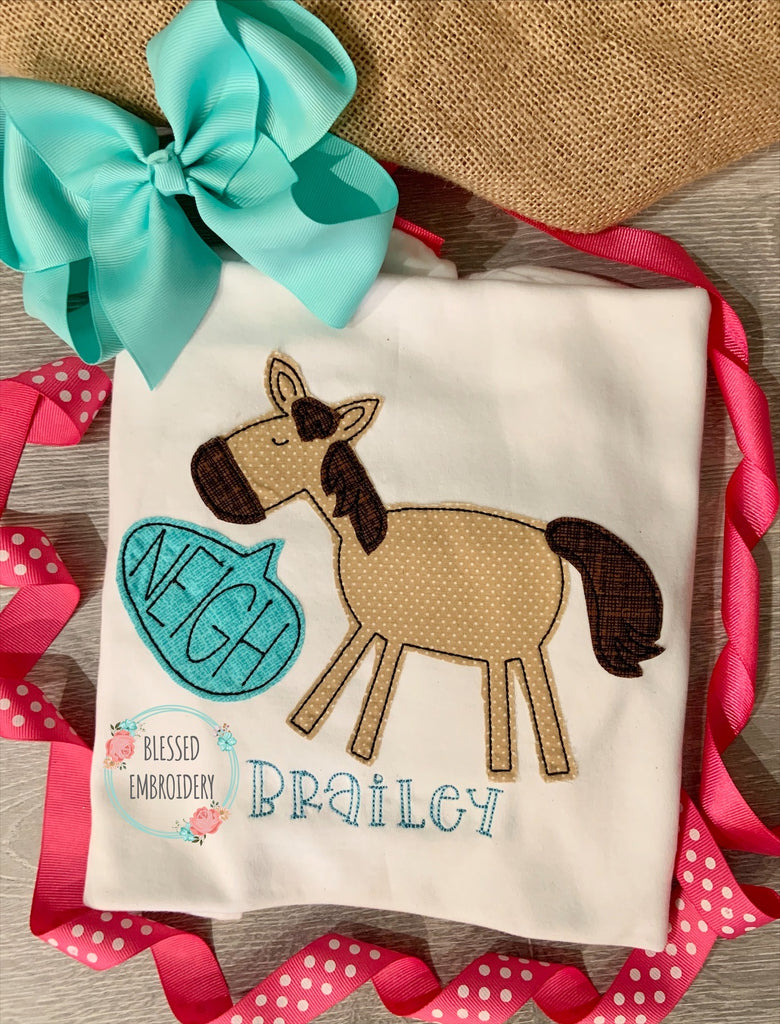 Girls Horse Appliqué Shirt, Girls Monogrammed Horse Shirt