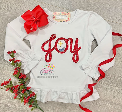 Girls Christmas Applique Shirt, Joy Appliqué