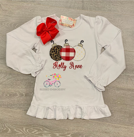 Girls Christmas Applique Shirt, Ornament Appliqué