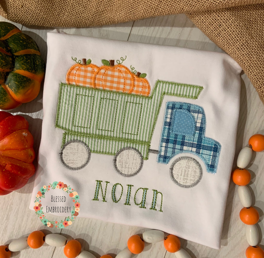 Boys Fall shirt, Boys fall Applique Shirt, boys pumpkin dump truck appliqué shirt