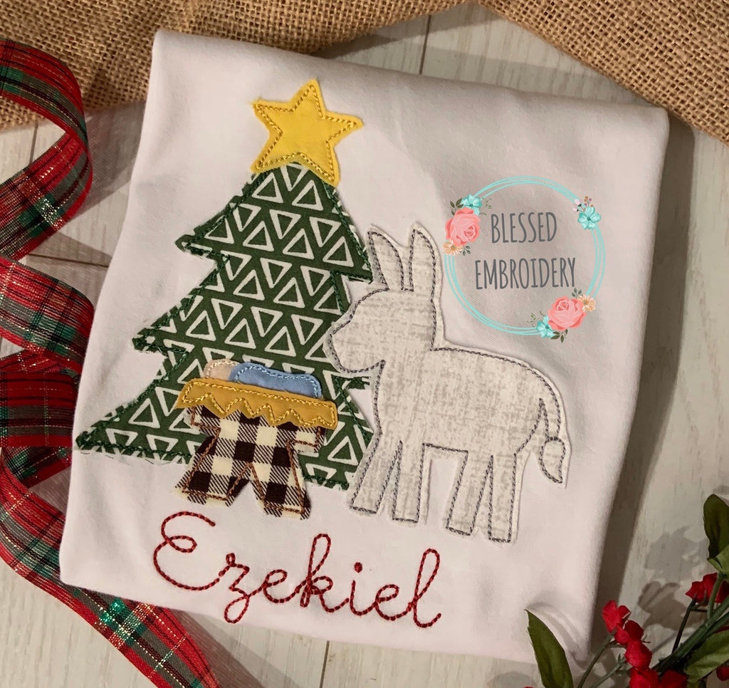 Silent night applique Christmas shirt, silent night applique shirt