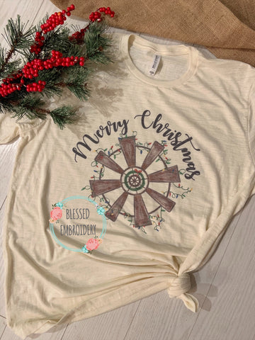 Merry Christmas windmill, Merry Christmas Printed Shirt, Merry Christmas Windmill Shirt