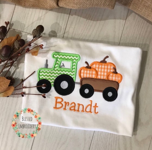 Boys Fall shirt, Boys fall tractor Applique Shirt