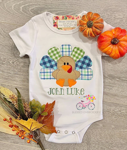 Boys Monogrammed Turkey Applique Shirt
