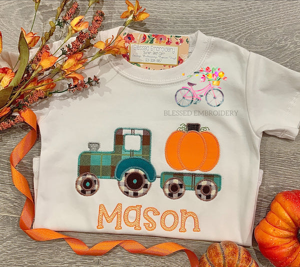 Boys Monogrammed Fall Shirt, Fall Tractor Applique Shirt