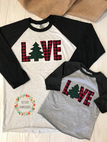 Mommy and Me Christmas Shirts, Mommy and Me Christmas Raglans, Love Christmas Shirt
