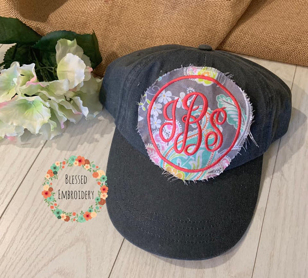 Monogrammed Raggy Patch Hat, Monogrammed Hat