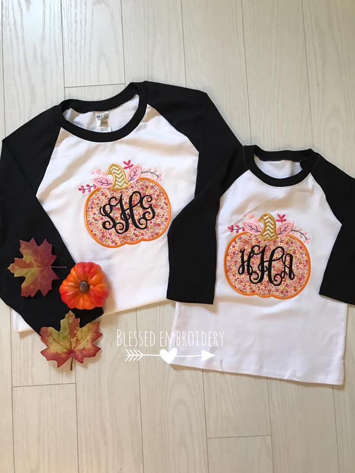 Monogrammed mommy and me fall shirts, monogrammed mommy and me pumpkin shirts