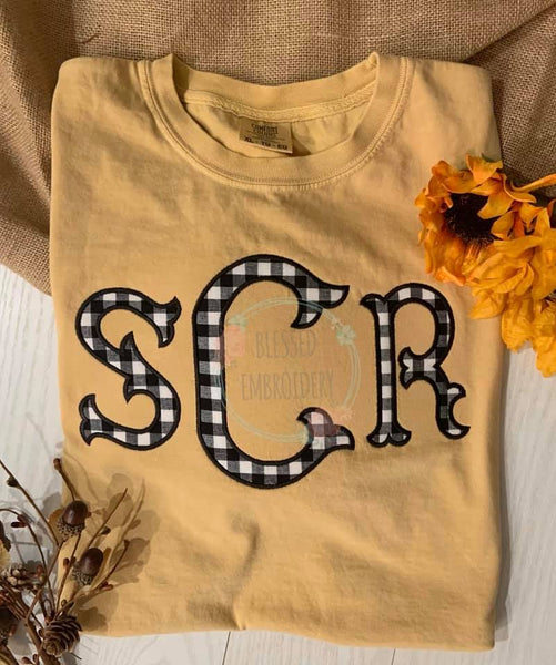 Monogrammed Comfort Color Shirt, Monogrammed Applique Comfort color shirt, monogrammed shirt, Monogrammed Buffalo Plaid Shirt